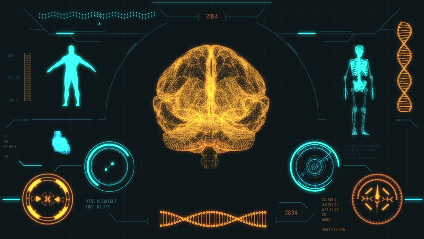 human skeleton scan. futuristic medical user interface with hud, Skeleton