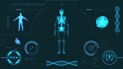 Human skeleton scan. Futuristic medical user interface with HUD and infographic elements. Virtual technology background. Head-up display template for business, games, motion design, web and app.