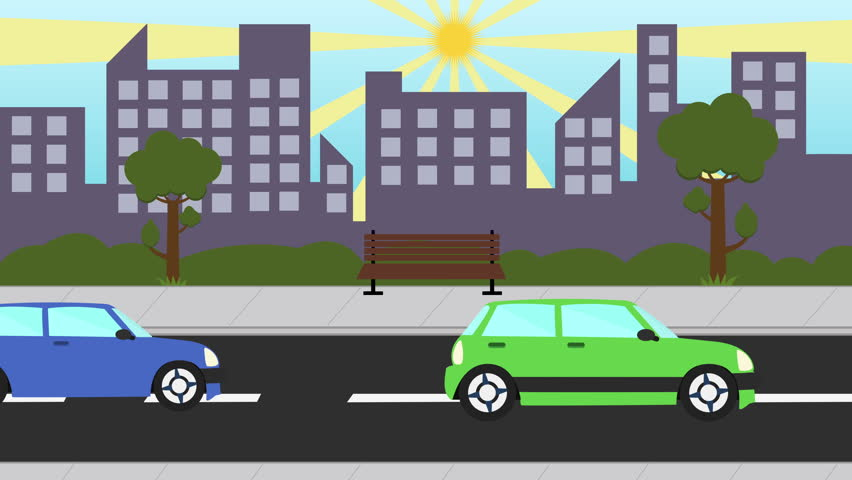 Colorful cartoon city traffic seamless loop. city day looped animated. Business center with road highway avenue animated transport street traffic. pollution concept. | Shutterstock HD Video #20449375