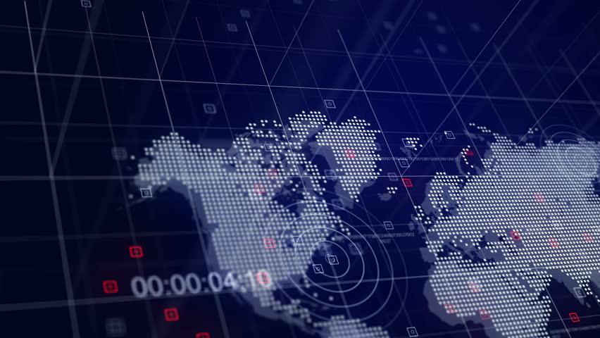 World News 3D Broadcast Animation Blue World Map Background 4K | Shutterstock HD Video #20452174