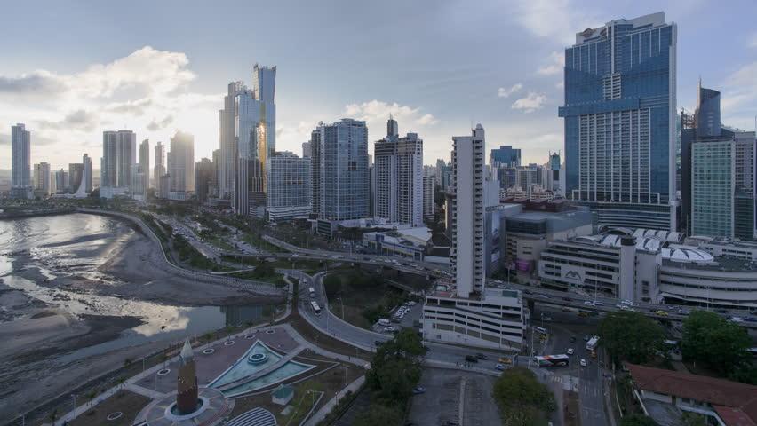 City skyline, Panama City, Panama, Central America - day to night time lapse (May 2016, Panama City, Panama)