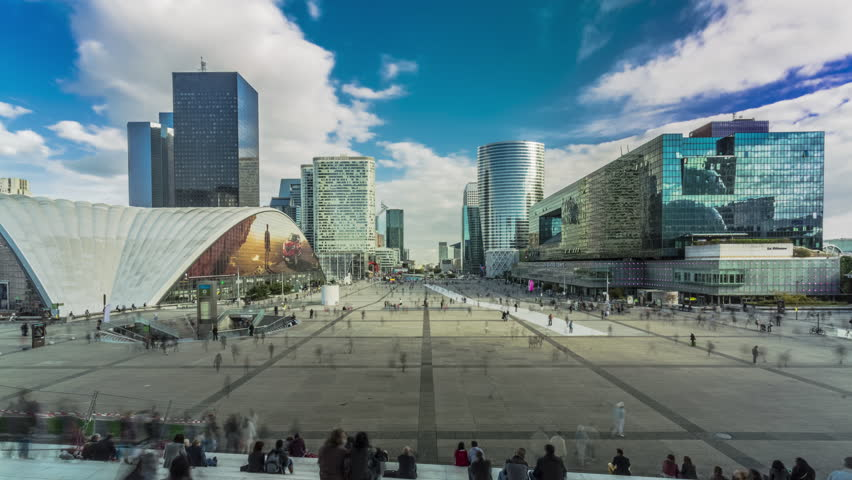 Time lapse - Parvis la Defense, Paris, France, crowds of people - August 2016 | Shutterstock HD Video #20489035