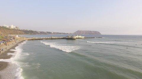 MIRAFLORES, LIMA, PERU: Fly over the Rosa Nautica, in Makaha beach, Miraflores.