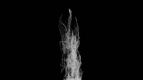 high detailed Water Blast Explosion in slow motion with alpha (UHD, high definition, 4k, 3840x2160, 1080p, 1920x1080) isolated on black