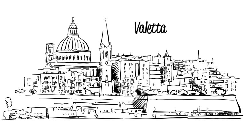 Image result for malta skyline drawing