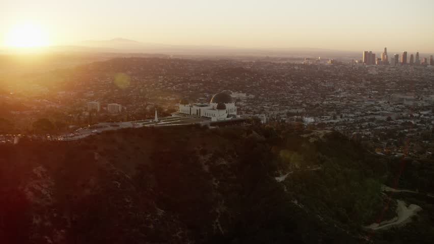 Aerial Griffith Observatory sunrise Los Angeles California Hollywood Hills USA Telescope building Skyline travel tourism Viewpoint Museum Landmark #20572375