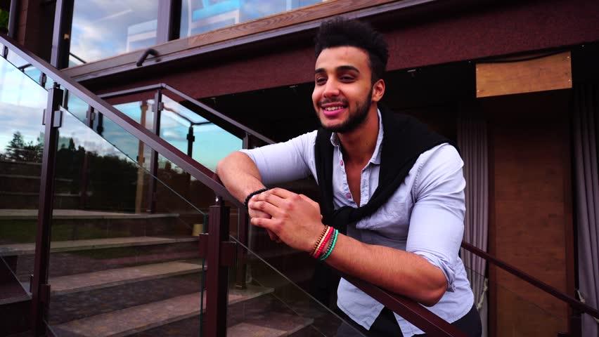 Similar HD and 4K stock videos. Portrait Successful Young Beautiful Muslim  Man Looking Into Camera, Showing Joyful Emotion. Male Arab
