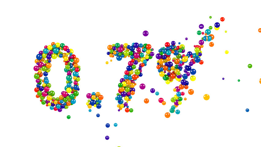 Point seven percent made from green, blue, yellow, purple and red balls over white background | Shutterstock HD Video #20612575