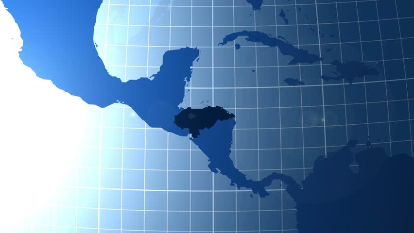 Nicaragua Zooming Into Nicaragua On The Globe Stock Footage - Nicaragua map hd