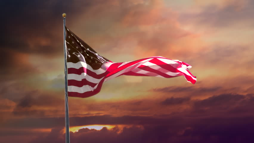 American Flag in Slow Motion. Celebrate USA, Veterans Day, and 4th of July with video if flag waving wind. Great for History, corporate projects.