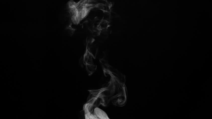 White Plume of Steam from Hot Water. White steam rises light, graceful twists on a black background. Shooting at a rate of 240fps. Footage is perfect for the top layer with different blending modes