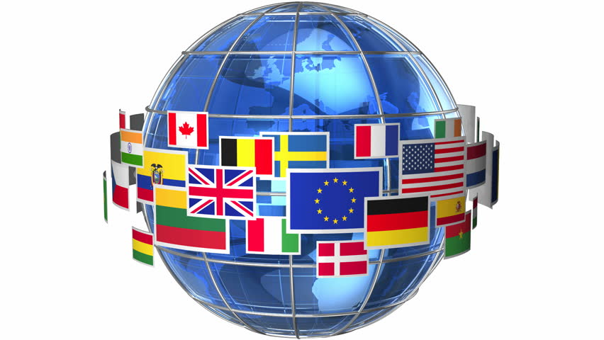 Looping spinning globe world map earth stock footage video rotating earth globe with world flags isolated on white background hd stock footage clip sciox Image collections