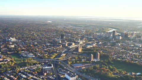 Hartford Ct fall morning. AERIAL Hartford, capitol of Ct  4k  skyline, close downtown view North.