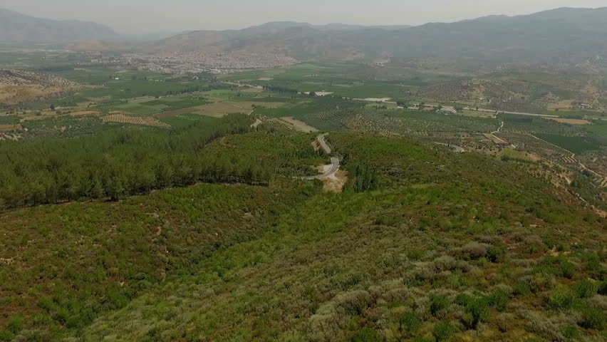 Beautiful landscape of the summer mountains near the Temple of Artemis