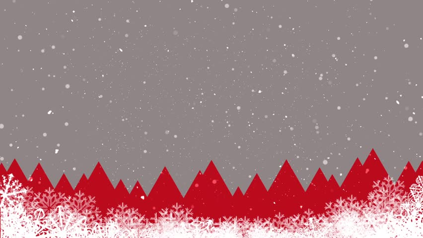 Abstract Christmas Background Landscape And Falling Snow Red