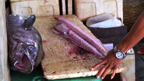 Man cutting fresh-caught fish Mahi Mahi. Fish preparation. Tuna fish. Jimbaran Fish Market. Bali, Indonesia