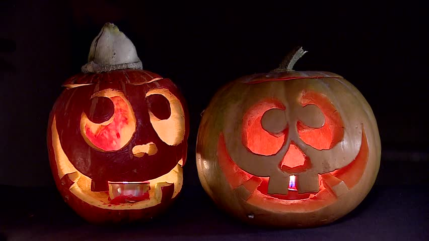 Two Funny Pumpkins On Halloween Stock Footage Video 100