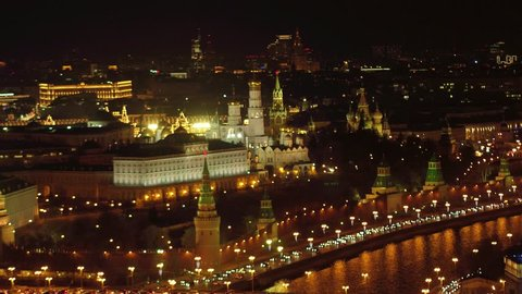 Aerial night view of the Kremlin, Moscow, Russia