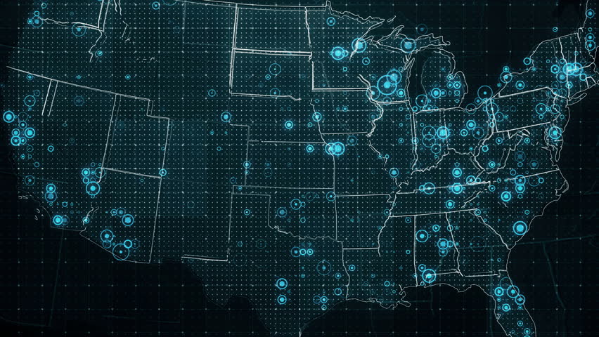 Decreases Diagram on the Map of USA. The video of animated diagrams on the USA map background. There are also animated glowing round connections in different cities on the USA map.  | Shutterstock HD Video #20853916