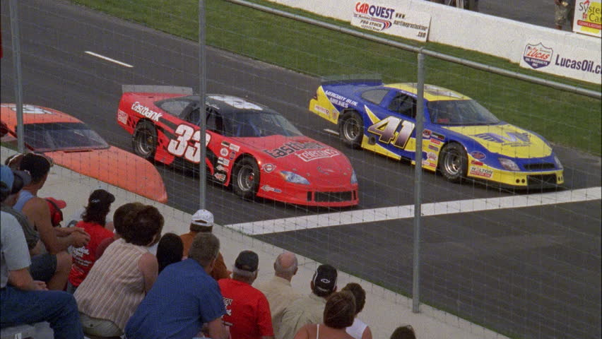 Day Nd Race Track Line Stock Cars Pull Up Stop Behind White Line