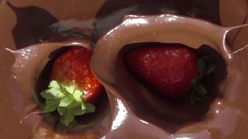 Melted chocolate strawberry