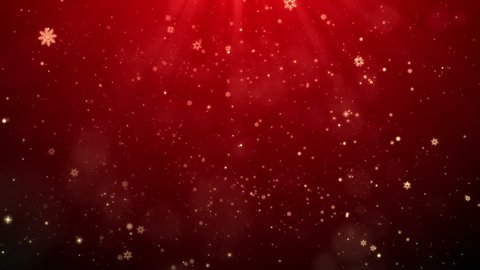 Red Christmas Snowflakes Falling Shiny Background Looped, For your Celebration or greetings video.