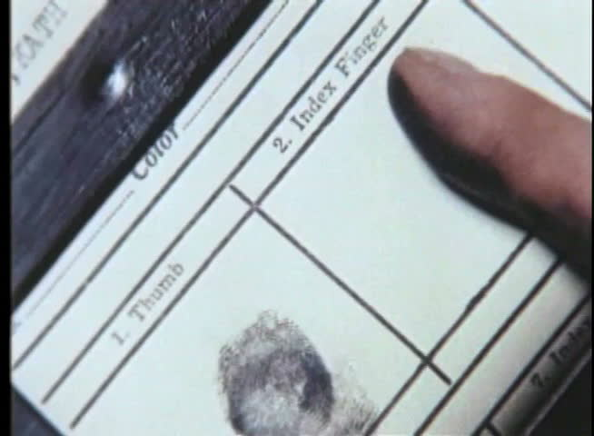 Close-up of person being fingerprinted