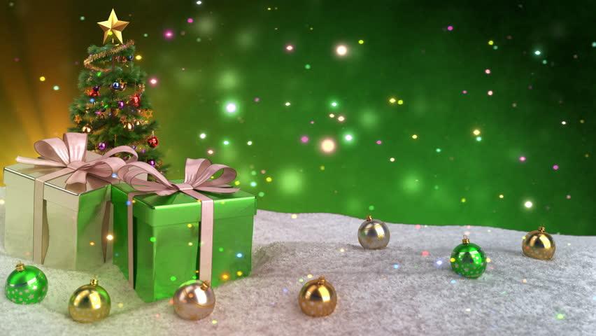 Green Christmas Theme with Gifts, วิดีโอสต็อก (ปลอดค่าลิขสิทธิ์ 100 ...