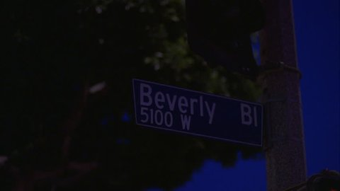 night Close shot Beverly Bl 5100 W street sign West Hollywood, LA