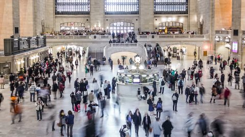 NEW YORK CITY - April 14, 2014: Grand Central Station. Zoom out. Time lapse. New York. United states.
