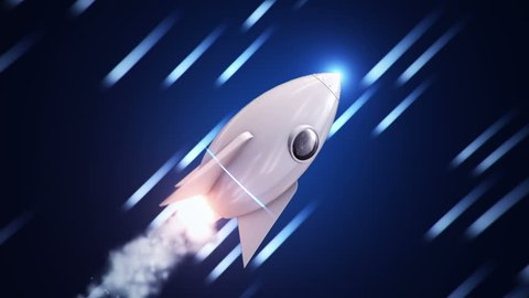 Animation of flying rocket in cosmos with fast flying particles as stars or light lines of speed. Animation of seamless loop.