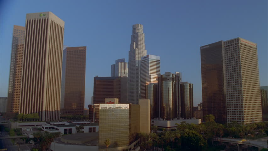 Day Close downtown Los Angeles skyline, sun bldgs. | Shutterstock HD Video #21113725