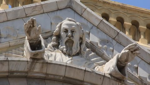 Holy father relief on the facade of a church