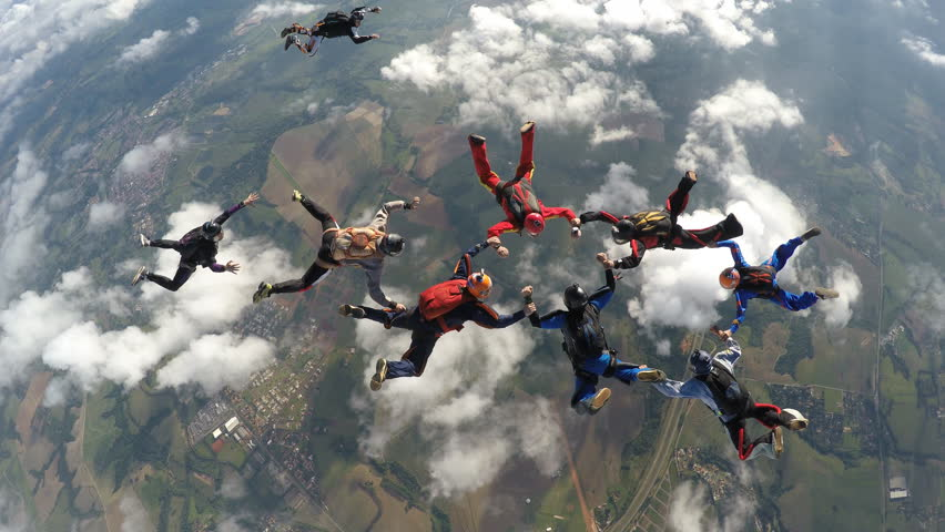 Skydivers jump from the plane 4K | Shutterstock HD Video #21130345