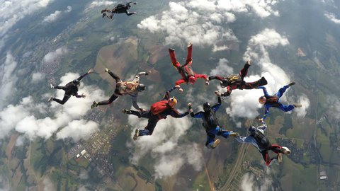 Skydivers jump from the plane 4K