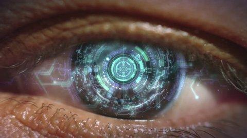 4K Cybernetic brain. Zooming through eye.