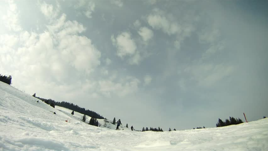 Skier skiing down the slope