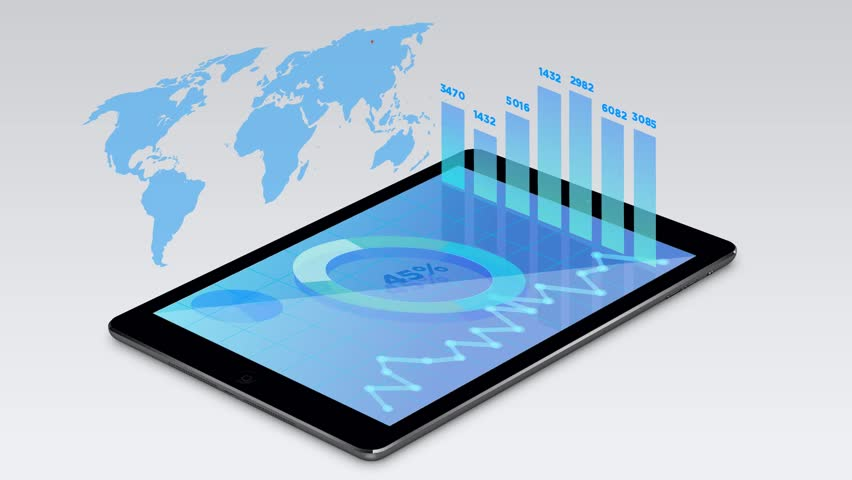 3D Financial Graph world wide statistics