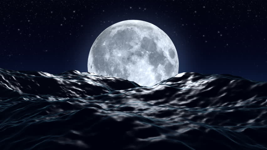HD - Big moon over the ocean