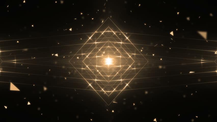 VJ Fractal gold kaleidoscopic background.Background gold motion with fractal design. Disco spectrum lights concert spot bulb. Lights Flashing Spot light. On a black background.