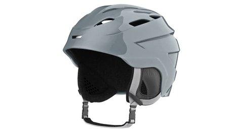 Helmet ski gray metallic, alpha channel. 3D animation loop