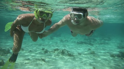 Couple doing snorkeling in Caribbean sea