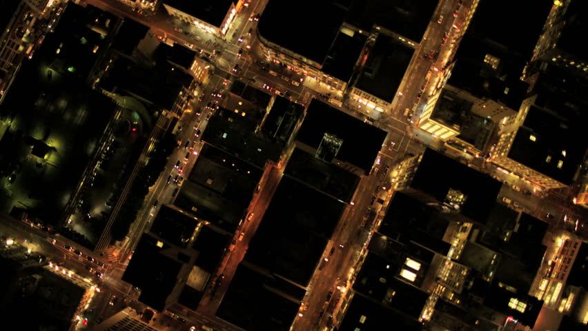 Aerial night vertical view of modern illuminated skyscrapers in an urban development, USA | Shutterstock HD Video #2128925