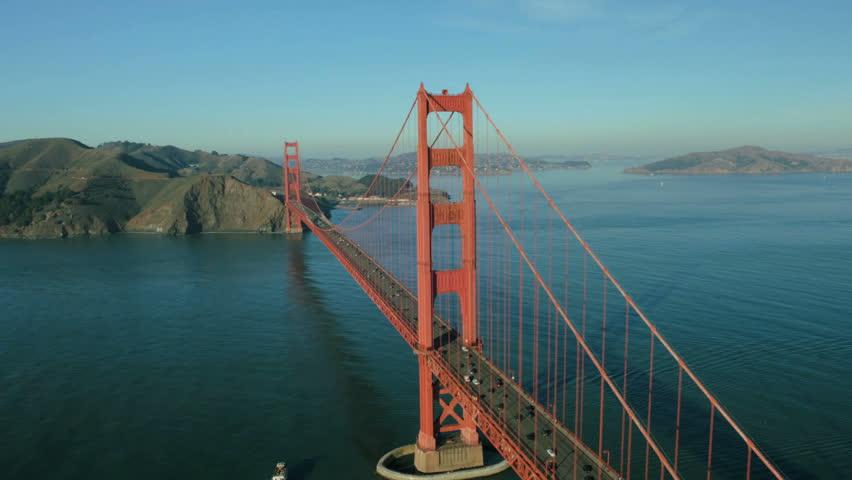 Aerial view of road traffic crossing the Golden Gate Bridge, San Francisco, California, North America, USA