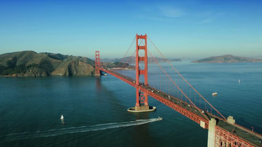 Aerial view of nautical vessels and road traffic, Golden Gate Bridge, San Francisco, California, North America, USA