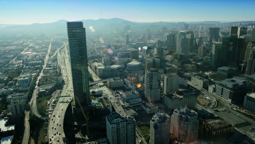 Aerial view of the skyscrapers and freeways within the city of San Francisco, California, North America, USA