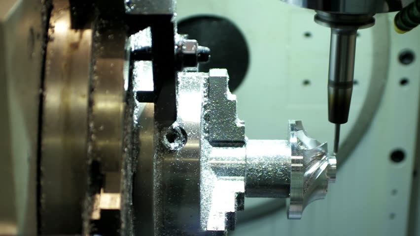 Metalworking CNC milling machine on a factory