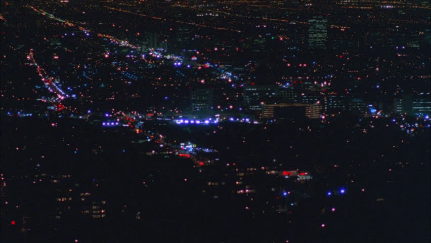 Night High down Pan left over ND large city Los Angeles | Shutterstock HD Video #21316585