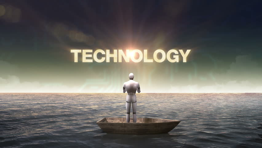 Rising typo 'TECHNOLOGY', front of Robot, cyborg on a ship, in the ocean, sea.