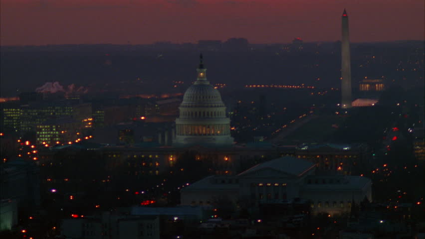 DUSK SUNRISE SUNSET Aerial Over Washington DC, circling around Capitol Building Washington Monument background | Shutterstock HD Video #21355975